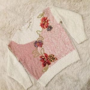 1980s NEEDLES & YARN Textured Floral Sweater